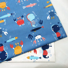 Prints Crab Twill 100 cotton Fabric Baby Dress Appeal Sewing Quilting Supply Household DIY Clothes Fabric 6 Sizes Cotton Fabric cheap Woven Other Fabric 100 Cotton Printed Breathable 160 cm Brocade Fabric blue white children s cotton fabric