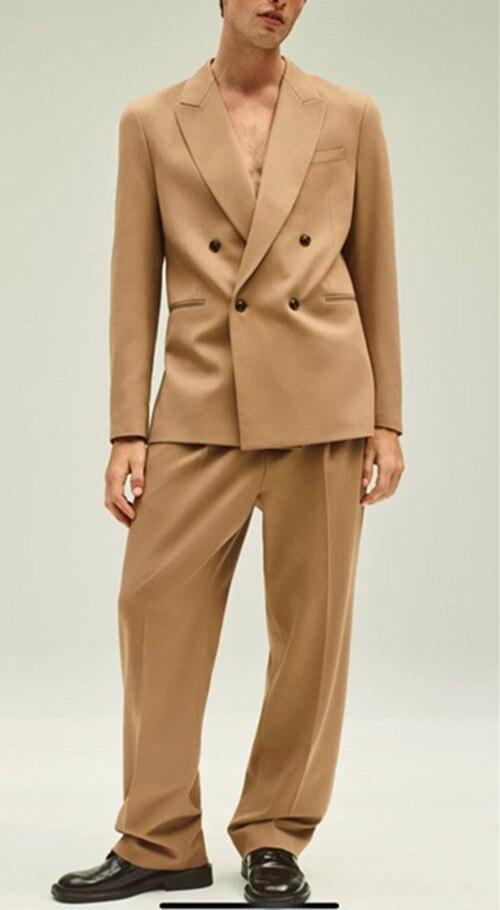 Fashion design men's loose suit latest trend boutique groom men's wedding dress classic double breasted blazer(jacket+pants)