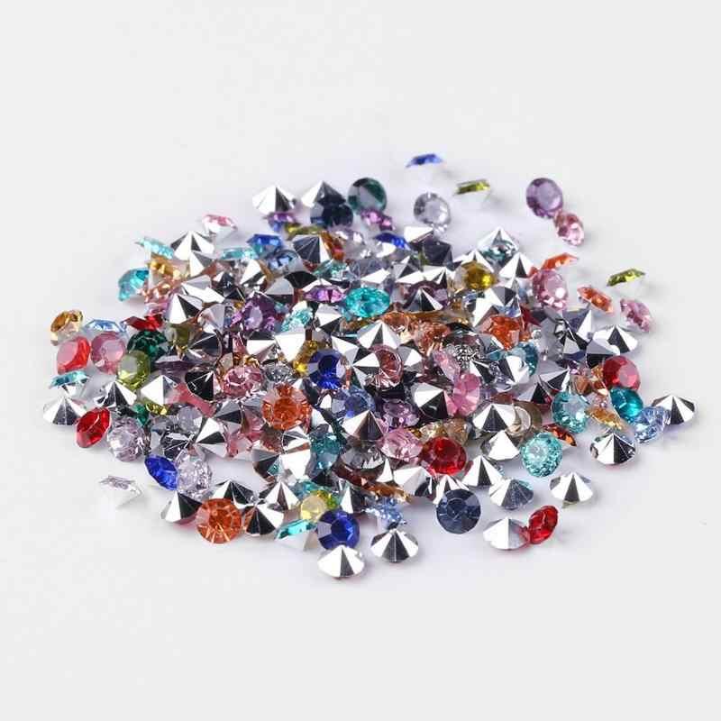 1000 piezas 3mm hermoso arte de uñas diamantes de imitación mezclado plata redondo punta inferior taladro DIY manicura mezclado brillo encanto Decoración