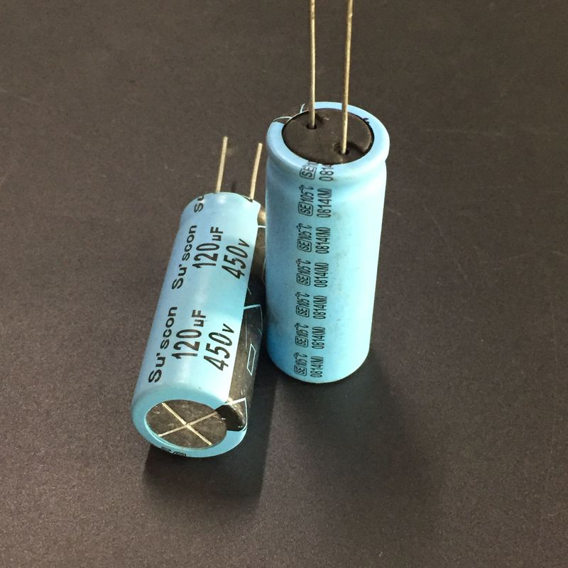 2pcs 120uF 450V Su'scon SE/SK Series 18x46mm High reliability Long Life 450V120uF Aluminum Electrolytic capacitor image