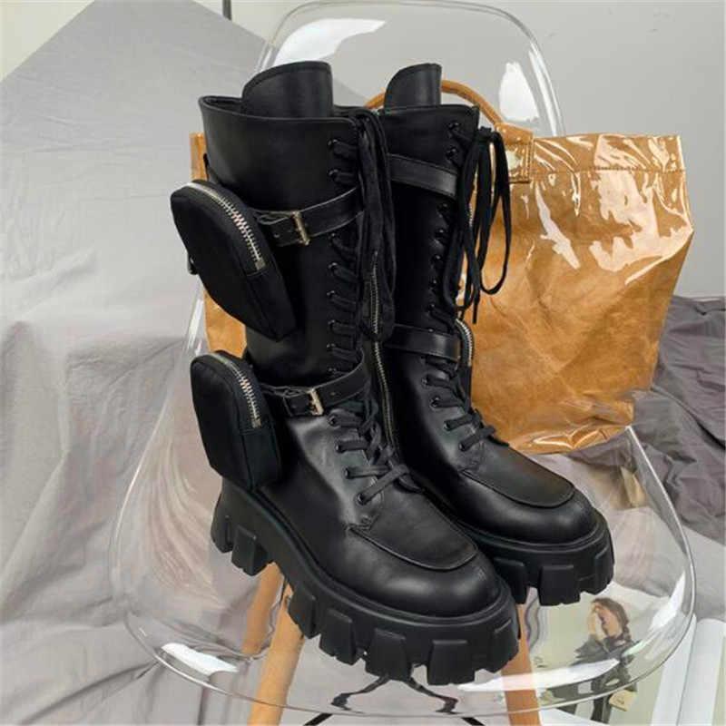 Martin çizmeler kadın deri siyah kayış motosiklet botları cep diz yüksek çizmeler inek deri askeri uzun çizmeler