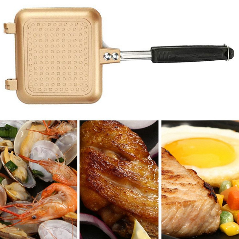 EASY-Aluminum Alloy Sandwich Machine Double-Sided Baking Pan Non-Stick Pan, Suitable For Induction Cooker
