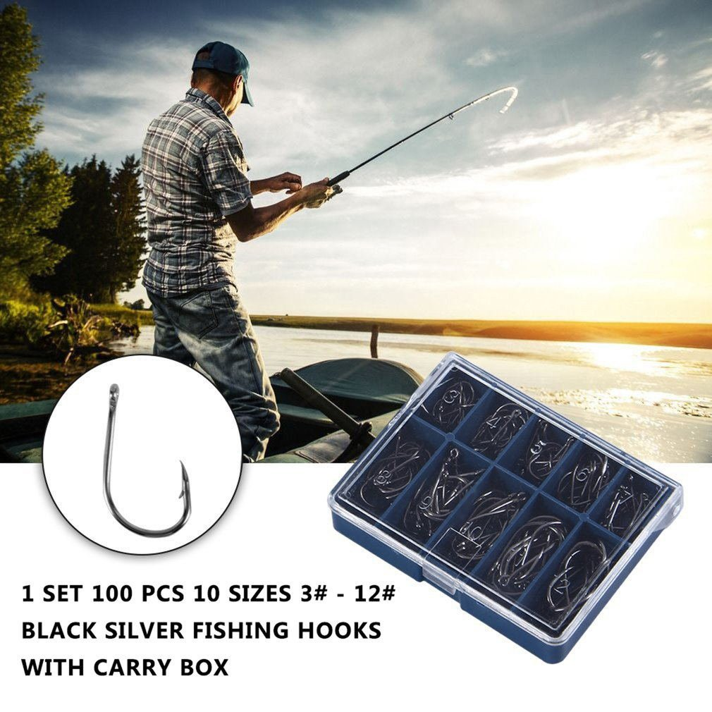 100Pcs Practical Fresh Water Sea Fly Fishing Hooks Tackle Set With Box 10 Sizes