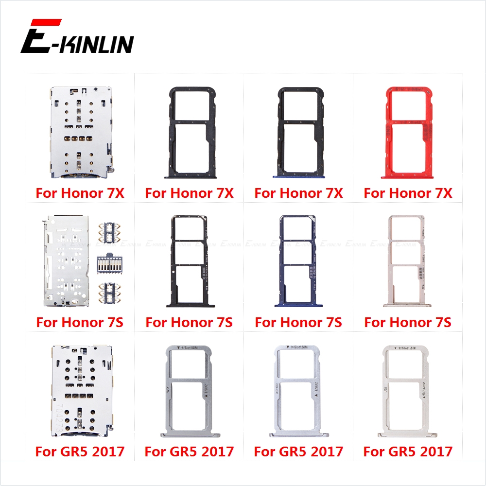 Sim Card Socket Slot Tray Reader Holder Connector Micro SD Adapter Container For HuaWei Honor 7X 7S GR5 2017 Replacement Parts