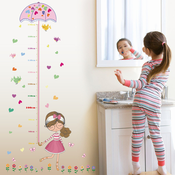 Pegatinas de pared de dibujos animados bonitos paraguas niña altura medir calcomanías princesa habitación decoración DIY papel tapiz cartel