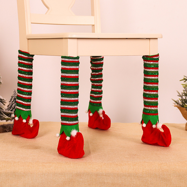 4Pcs Christmas Table Foot Socks Chair Leg Covers Floor Protectors Non-Slip Knitting Socks For Furniture Home Decor New Year 2