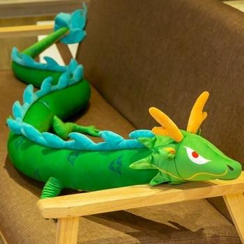 220cm Simulation Long Dragon Plush Toy Soft Cartoon Animal Zodiac Kawaii Dragon Dinosaur Stuffed Doll Sleeping Pillow Best Gifts недорого