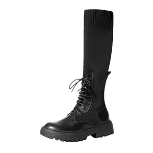 Image 2 - Women Sock Boots Mid Calf Booties Woman Fashion Casual Shoes Female Comfortable Thick Sole Botas Mujer New Designer Dropshipping