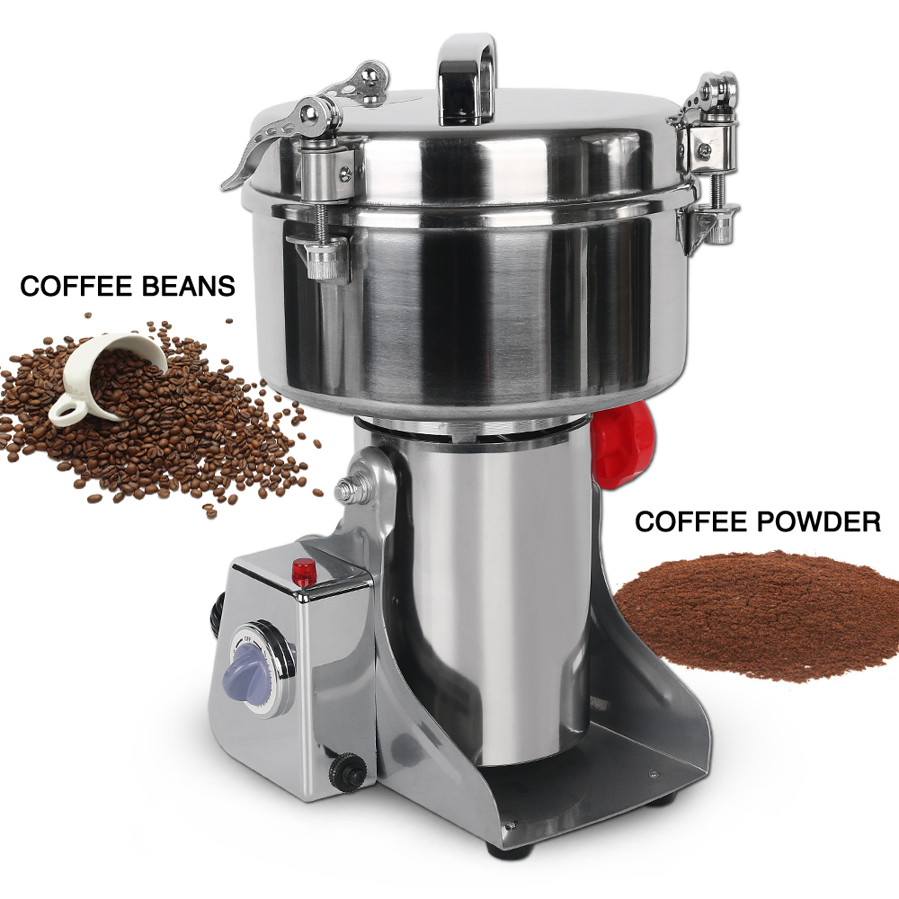 Commercial Electric Grinder Machine Stainless Steel Flour Mill Pulverizer for Cereal Spice Grain Bean Pepper|Mills| |  -