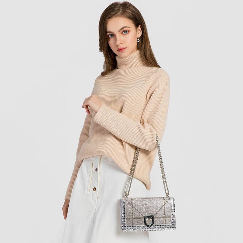 Women Sequins Chain Shoulder Bag Summer Women Buckle Shoulder Bags sac bolsa sac a main bolsas сумка мужская