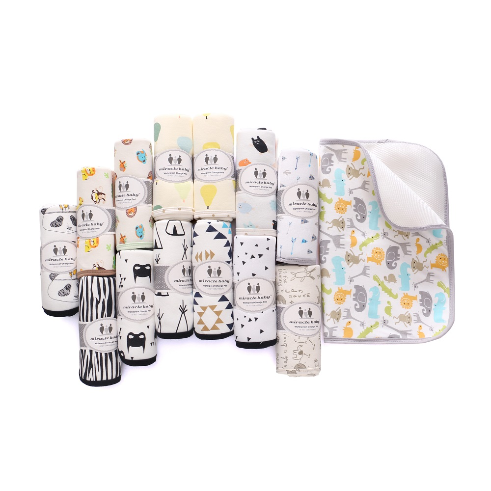 Miracle Baby Waterproof Diaper Changing Mat Infant Urine Pad Reusable Changing Pads Knitted Travel Pad 38*52cm Stroller Liner