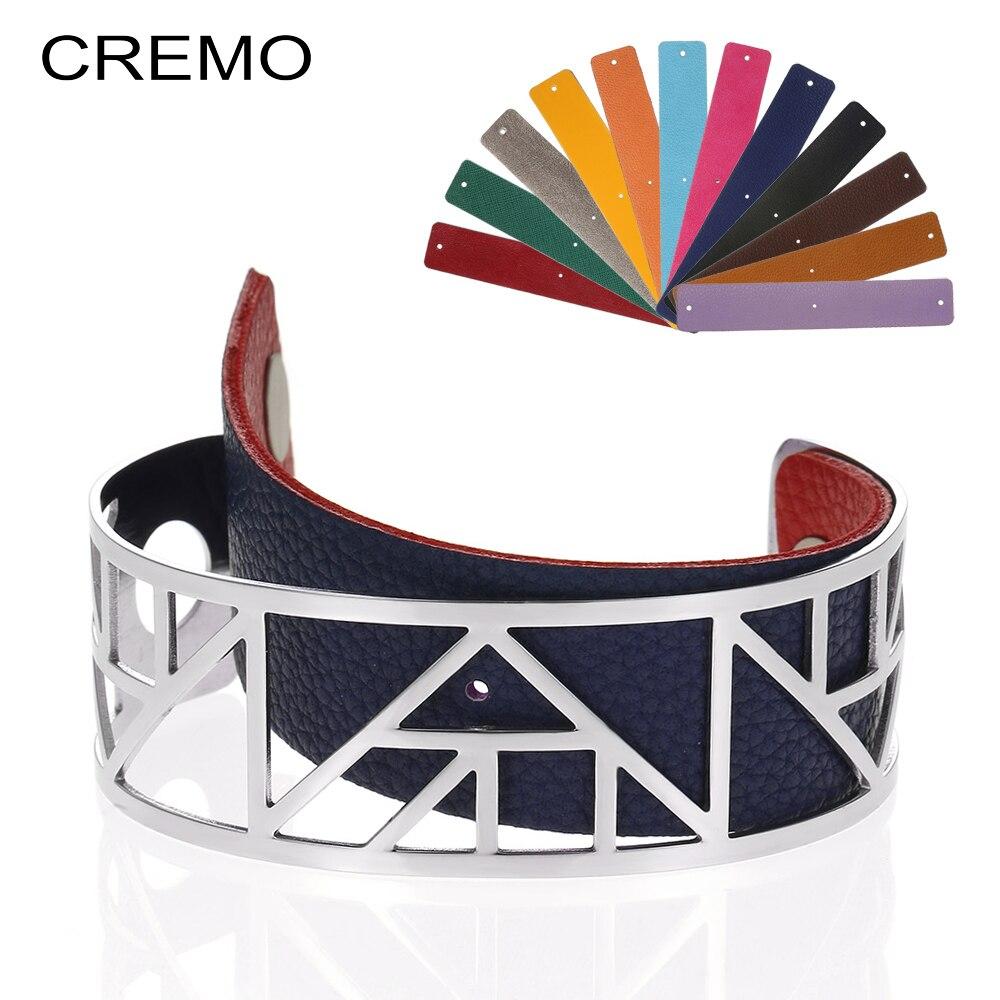 Cremo Manchette Bracelets Bracelets femmes acier inoxydable Bracelet Argent Femme Manchette Interchangeable réversible rayure Pulseiras