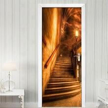 ПВХ Самоклеящиеся дверные наклейки золотой коридор лестница