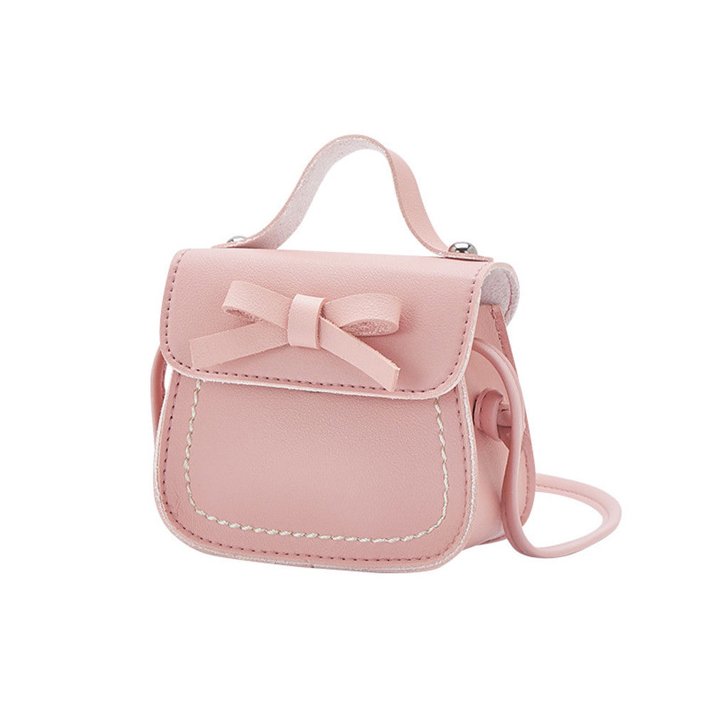 Kid Girl Mini Bags Toddler Baby Girl Princess Bow Shoulder Crossbody Bags Solid