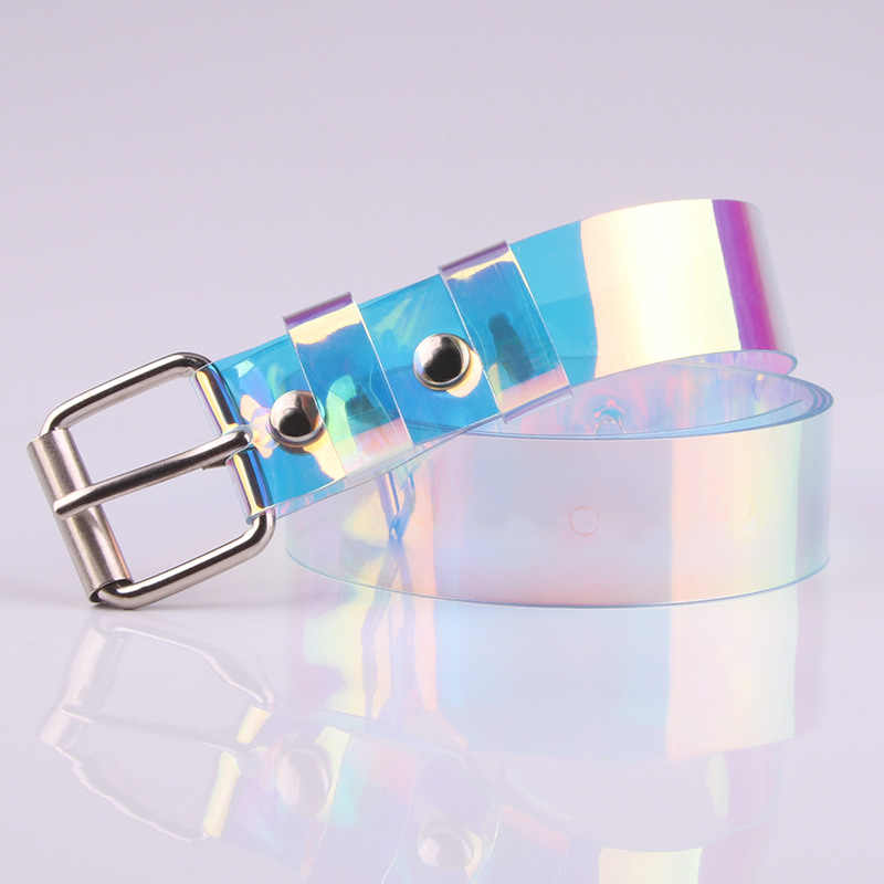 Mode Ranbow Transparante Vrouwen Riem Laser Holografische Clear Pin Gesp Brede Taille Bands Tailleband Onzichtbare Punk Taille Riem