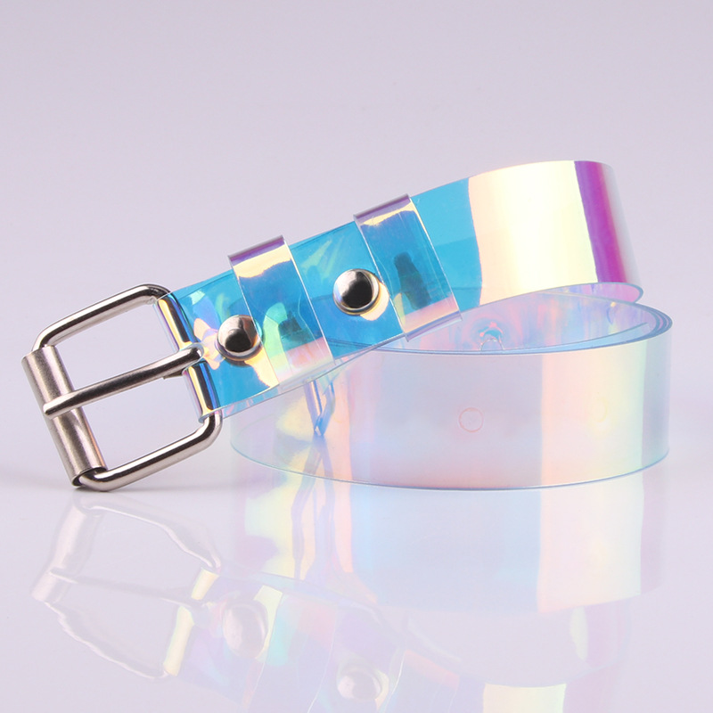 Women Belt Waistband Buckle Laser Clear-Pin Ranbow Holographic Punk Transparent Fashion title=