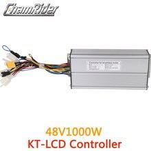 Бесщеточный контроллер для электровелосипеда ebike, 48 В, 1000 Вт, 40 А, датчик Холла синусоидальной волны, поддержка серии KT, светодиодный ЖК дисплей