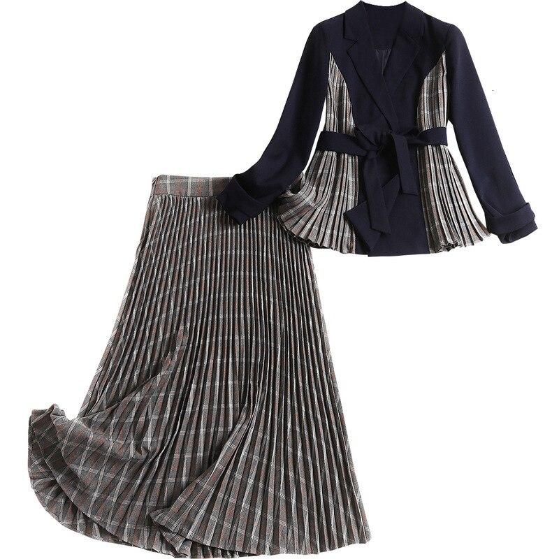 2019 Women Autumn Blazer Skirt 2 Piece Set Long Sleeve Patchwork Belt Jacket Grey Plaid Mesh Skirt Pleated Midi Skirts Suit