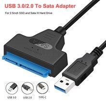 Congdi usb sata 3 cabo sata para usb 3.0 adaptador até 6 gbps suporte 2.5 Polegada externo ssd hdd disco rígido 22 pinos sata iii a25 2.0