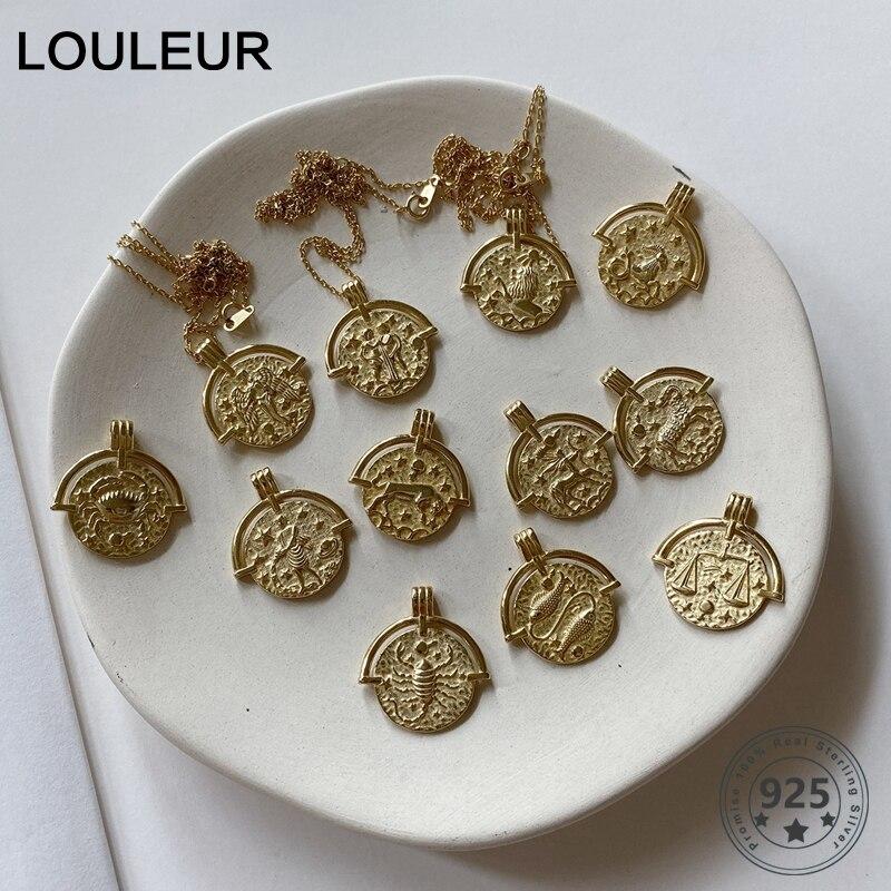 Louleur 925 srebro dwanaście konstelacji naszyjnik okrągły wisiorek złoty tłoczenie naszyjnik dla kobiet 925 konstelacji biżuteria