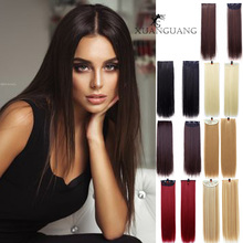 XUANGUANG 18inches Long wig straight hair woman 7 colors 3 Clips in hai