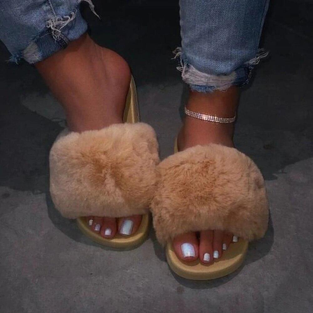 Zapatillas de piel nueva para mujer, Zapatillas de piel 2020, chanclas de exterior para mujer, chanclas peludas de playa, zapatos esponjosos de Mujer talla grande 35-43 Botas de Mujer, zapatos de invierno impermeables, Botas de nieve para Mujer, Botas de invierno para mantener el calor al tobillo con tacones de piel gruesos, Botas de Mujer 2019