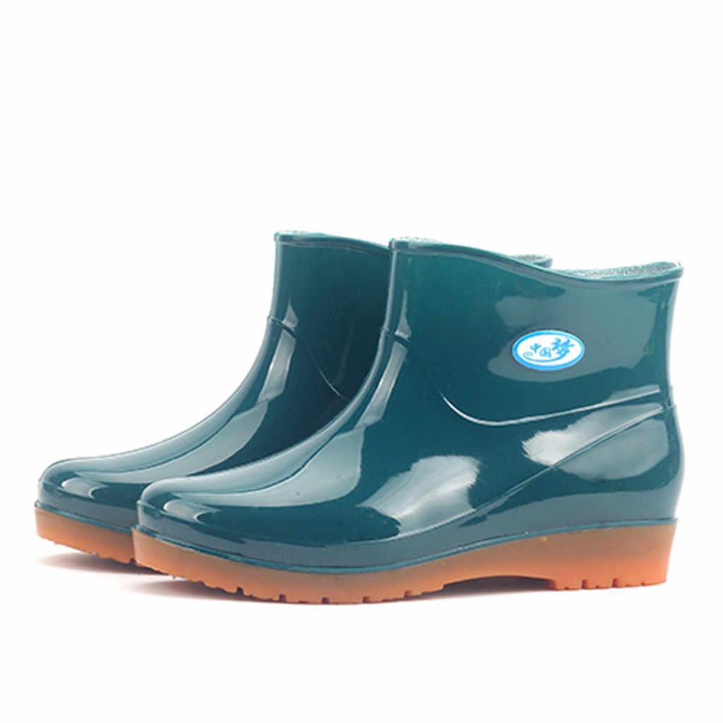 Botas de lluvia de tubo medio a prueba de agua zapatos de mujer Botas de lluvia de moda botas de goma de gran tamaño para mujer овь Женская