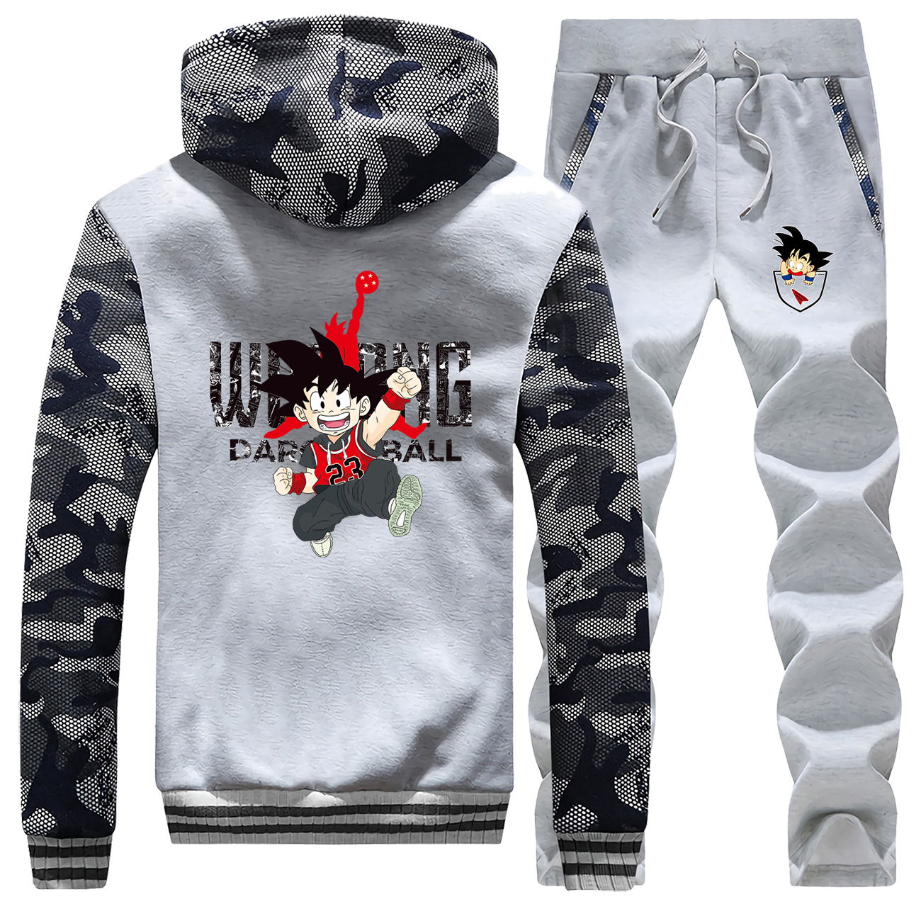 Anime Tracksuit Set Men Dragon Ball Male Sports Clothing Winter Fleece Men's Brand Streetwear Zip Hoodies Warm Trousers Harajuku