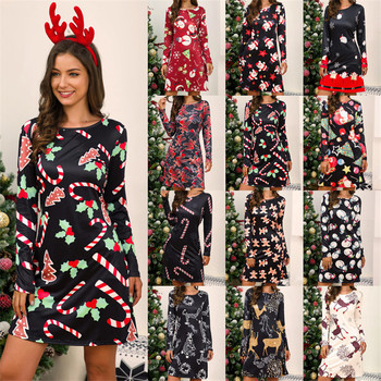 New Year Party Dress 2020 Autumn Winter Women Long Sleeve Print Loose Casual Mini Dress Elegant Sweet Christmas Dresses Vestidos women christmas dresses plus size s 5xl long sleeve o neck loose print casual a line dress new year xmas party dress vestidos