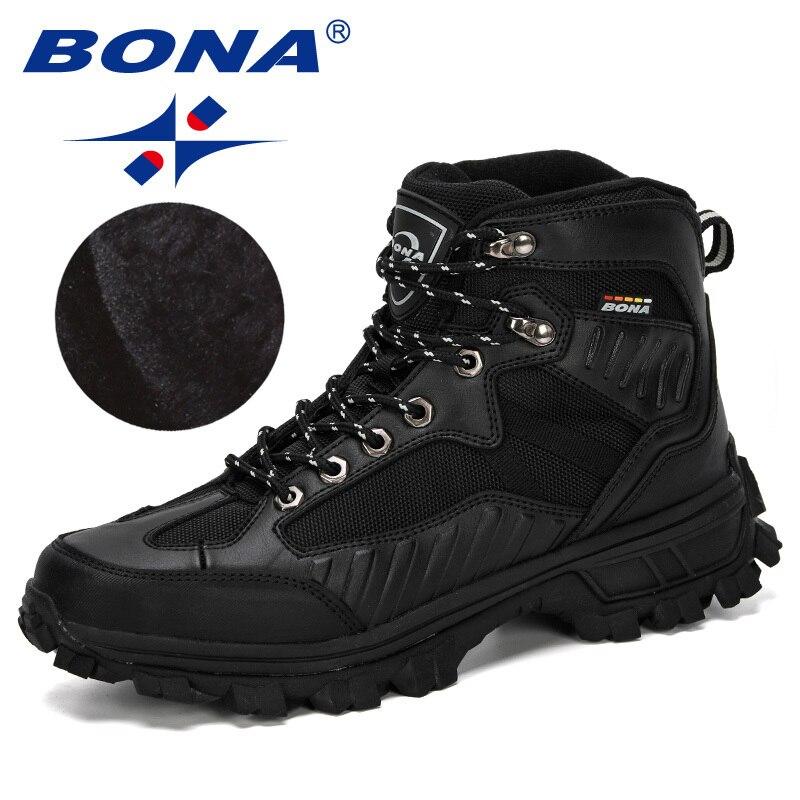 BONA/2019 зимние ботинки; черная обувь; треккинговые кроссовки из нубука; мужские треккинговые ботинки из плюша; Мужская Спортивная обувь