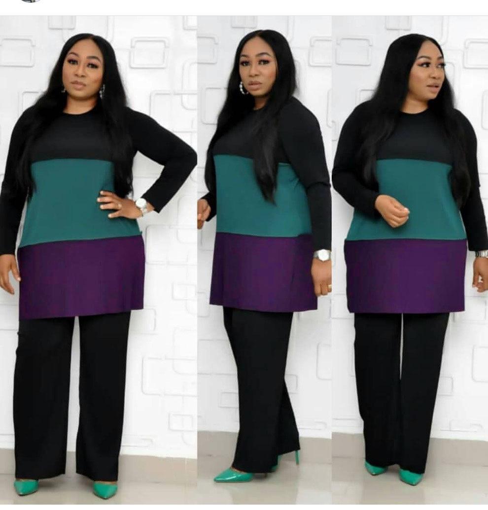 2019 Autumn Elegent Fashion African Women Plus Size Two Pieces Sets Top And Pants L-5XL