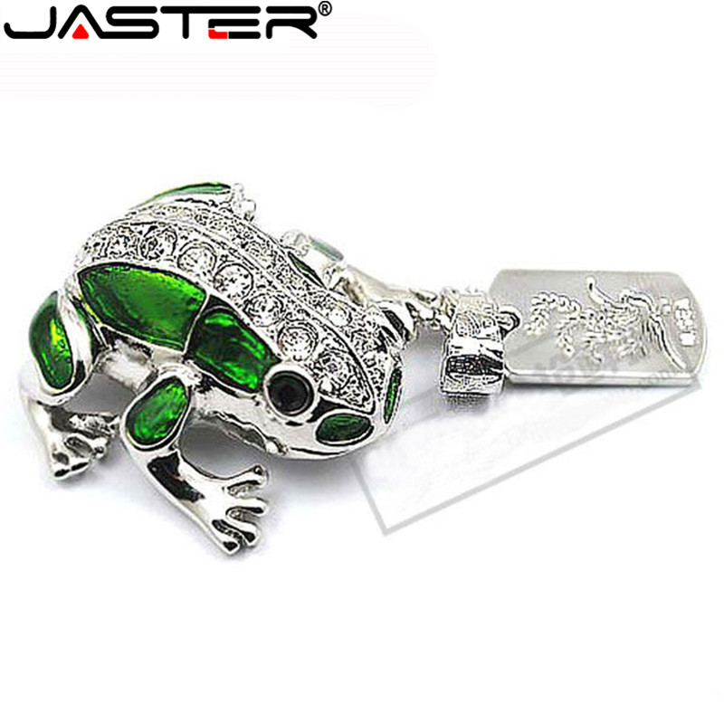 JASTER Metal Frog Crystal Usb Flash Drive Pendrive 4GB 8GB 16GB 32GB 64GB  Memory Stick U Disk USB 2.0 Free Shipping