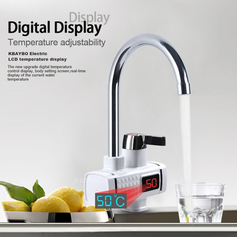 3000W Electric Water Heater Kitchen Instant Heater Cold Hot Didital Display Tankless Faucet For Kitchen And Bathroom