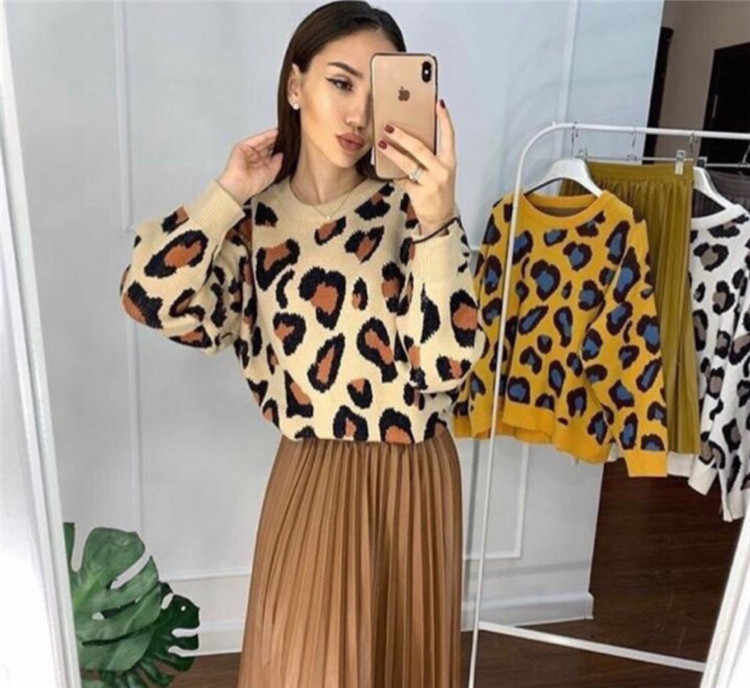 2018 Europe And America INS Leopord Pattern Loose-Fit Crew Neck Pullover Sweater WOMEN'S Knit Sweater