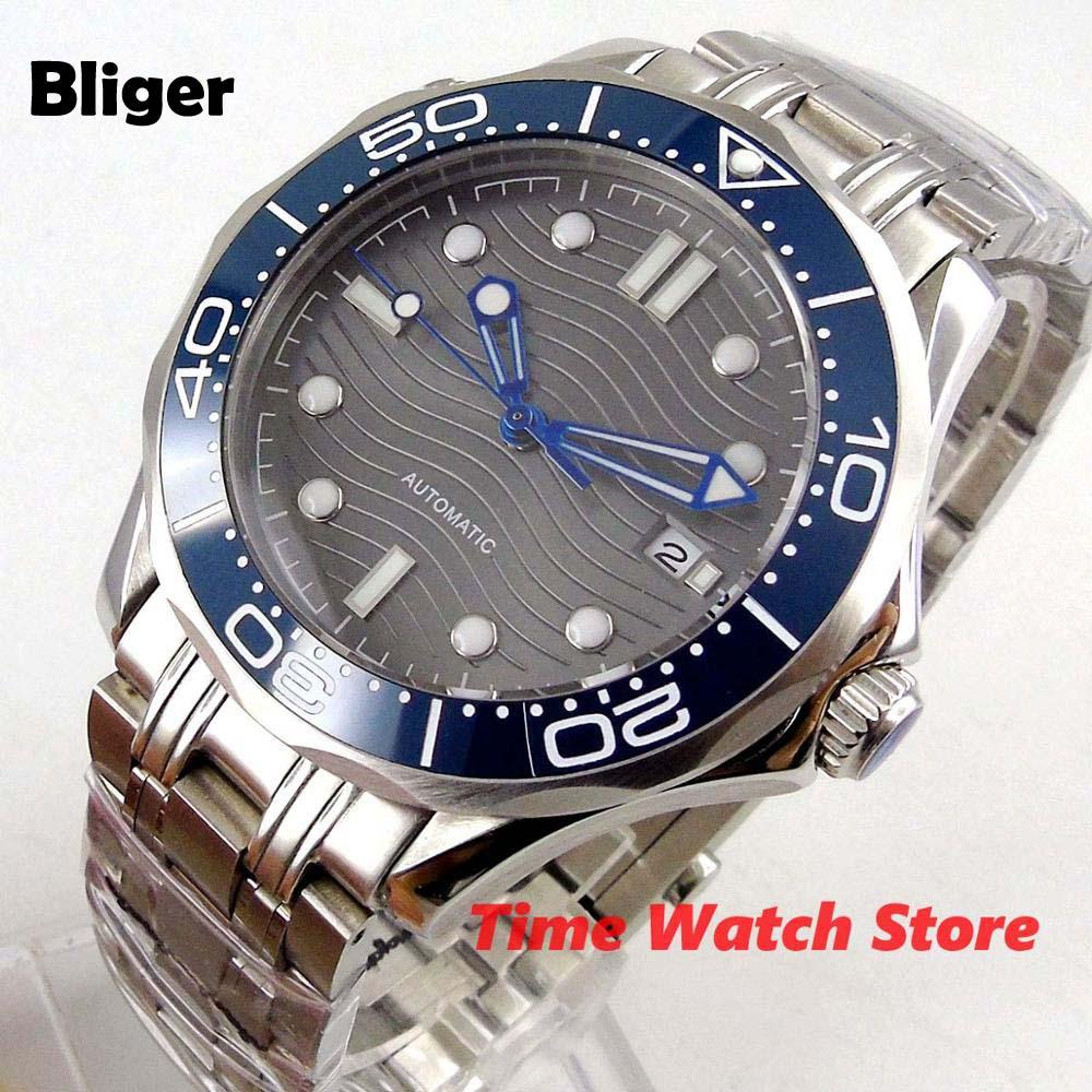 Bliger 41mm Miyota 8215 Automatic Watch Men Sapphire Glass Waterproof Luminous Grey Dial Date Bright Blue Bezel SS Bracelet B325