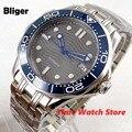 Bliger 41mm Miyota 8215 Automatische Uhr männer Sapphire glas wasserdicht Leucht grau zifferblatt Datum helle blau lünette SS armband b325-in Mechanische Uhren aus Uhren bei