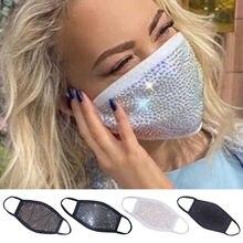 Masques buccaux lavables en coton pour adultes, avec strass, à paillettes, pour femmes, coupe-vent, anti-poussière, perceuse, respirant, nouveauté