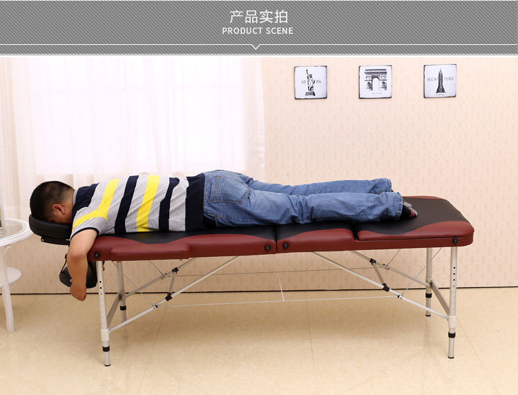 【Global Free Shipping】Aluminum Foot Thickening Folding Massage Bed Beauty Bed Massage Tattoo Bed