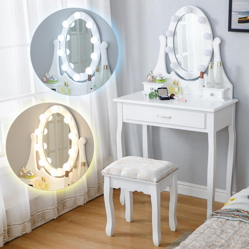 Best Price A44d3 Modern Elegant Style Makeup Dressing Table Single Drawer With Light Strip Beauty Dressers Bedroom Furniture Dressers Table Hwc Cicig Co