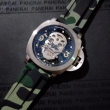Luxury Brand New Men Japanese Quartz Silver Green Red Rubber Sapphire Stainless Steel Skeleton Skull Luminous Watch Waterproof(China)