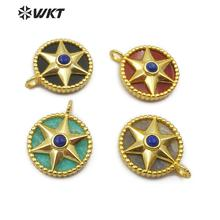 WT P1488 Natural Stone Pendant Round Shape Gold Electroplated Hexagonal Star With Stone Bead Fashion Woman  Pendant