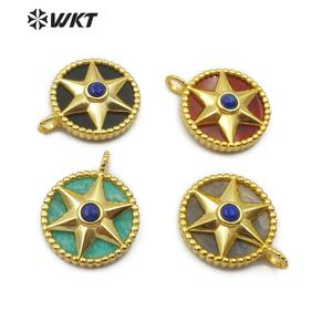 Image 1 - WT P1488 Natural Stone Pendant Round Shape Gold Electroplated Hexagonal Star With Stone Bead Fashion Woman  Pendant