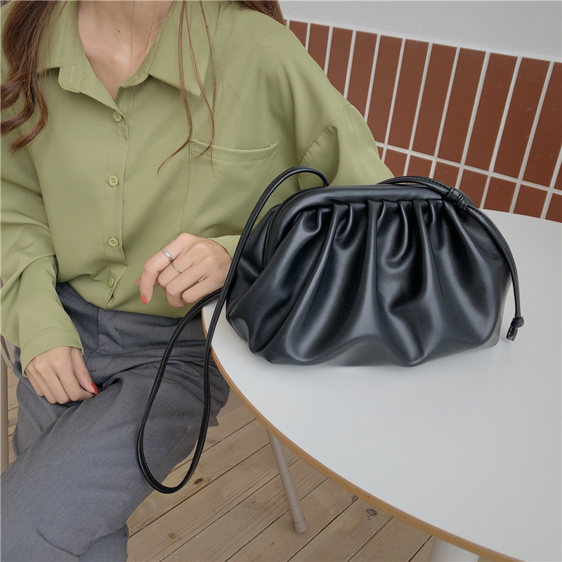 Cloud Soft PU Leather Women Handbag 2019 New Dumpling Crossbody Bag Shell Light Weight Shoulder Messenger Bag Folds Clutch Bag
