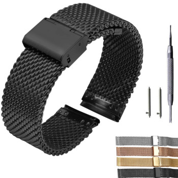 18mm 20mm 22mm 24mm Quick Release Universal Milanese Watchband Watch Band Mesh Stainless Steel Strap Wrist Belt Bracelet Black stainless steel watch band 22mm for pebble steel 2 butterfly clasp watchband strap wrist loop belt bracelet black silver tool