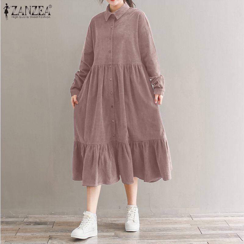 Vintage kadife gömlek elbise kadın Sundress 2021 ZANZEA bahar Casual uzun kollu fırfır Vestidos kadın düğme Midi elbise 5XL