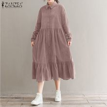 Vintage Corduroy Shirt  Dress Women Sundress 2021 ZANZEA Spring Casual Long Sleeve Ruffle Vestidos Female Button Midi Robe 5XL