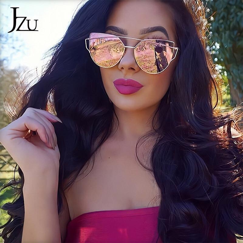 JZU Cat Eye Brand Sunglasses Women Designer Mirror Flat Rose Gold Vintage Metal Reflective Sunglasses Women Female Oculos Gafas