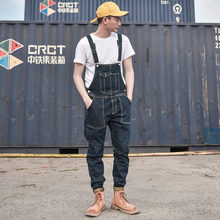 Men's Denim Bib Overalls Working Coveralls Cargo Tactical Jeans Jumpsuits For Man Multi Pockets Suspender Pants Sleeveless(China)
