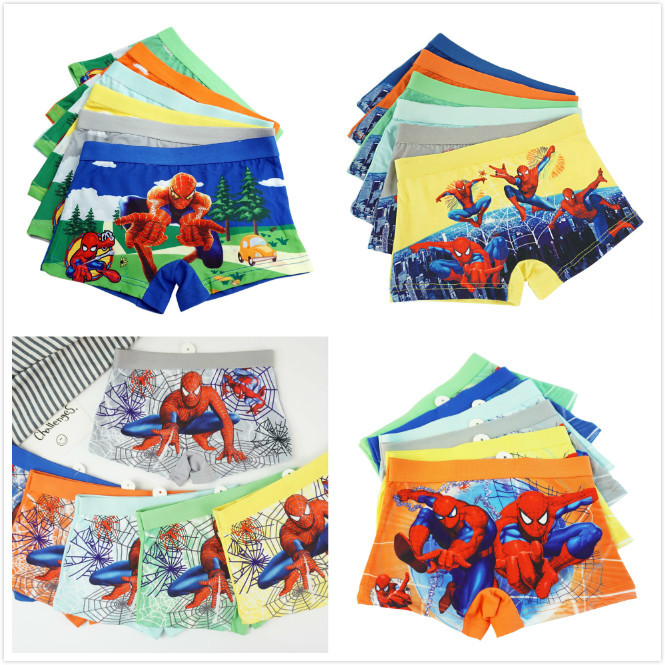 4pcs/lot Children Panties Boy Cartoon Hero Spiderman Short Boxer Girls Comfortable Underwear Kids Underpant Baby Majtki JPS496