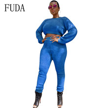 FUDA Newest Fashion Plush Clothes Rompers Jumpsuits Two Pieces Sets Long Sleeve Slim Bodycon Keep Warm Overalls for Femme